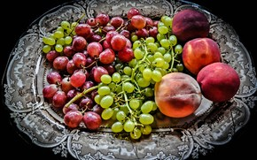 dish, grapes, peaches, fruit