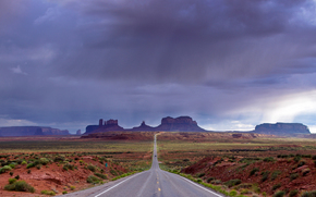 Monument Valley, Utah, carretera, NUBES, paisaje