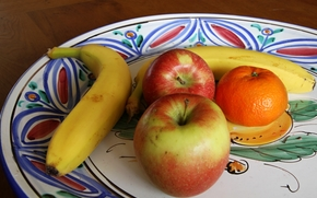 fel de mâncare, fruct, mere, banană, mandarin