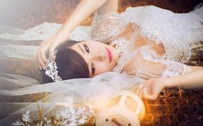 фата, фонарь, невеста, настроение, азиатка