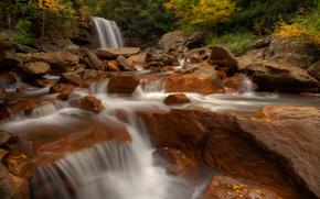 Douglas Cadute, Blackwater River, West Virginia, Douglas Cadute, Blackwater River, Virginia Dell'ovest, cascata, fiume, pietre, autunno