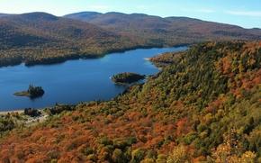 Mont-Tremblant Parque Nacional, Monroe Lago, Ontario, Canadá, Parque Nacional de Mont Tremblant, Lago Monroe, Quebec, Canadá, otoño, lago, bosque, Hills, panorama