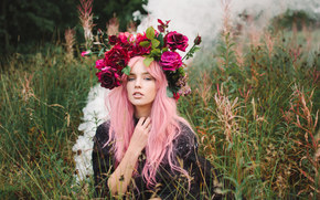 Lauren Hallworth, венок, цветы, трава