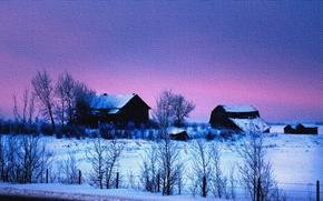 дома, деревья, зима, пейзаж, закат, на холсте