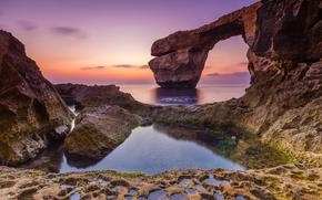 Malta, Arch, beach, sunset, sea, Rocks, shore, arch, landscape