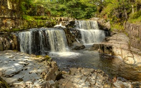 waterfalls, river, Rocks, trees, nature