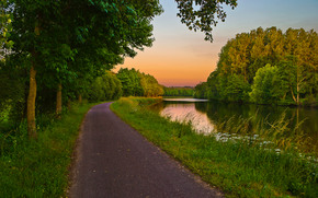 канал, закат, деревья, дорога, пейзаж