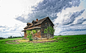 field, sky, clouds, old abandoned house, landscape