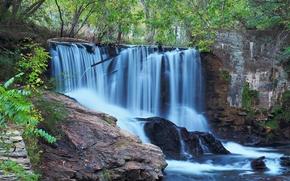 cascade, Rocks, nature
