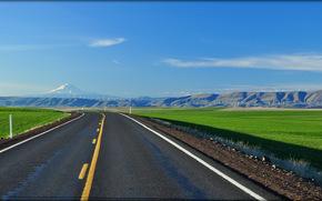 Дорога, Орегон, поле, горы, пейзаж