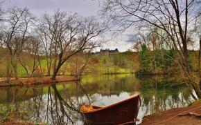 Asheville, North Carolina, Biltmore House, озеро, лодка, осень, пейзаж