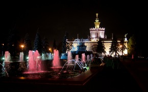 night, ENEA, Moscow, Russia, architecture, ussr, FOUNTAIN, building, trees, city