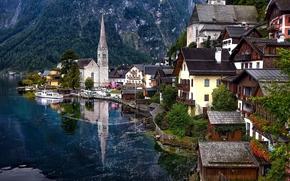 Lago Hallstatt, Alpes, ?ustria, Hallstatt, lago, Montanhas, casa