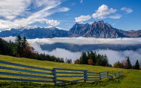 Uri-Rotstock, Brunnistock, Uri Alps, Alps, Switzerland, Альпы, Швейцария, горы, луг, забор, облака
