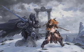 Heroes of the Storm, Arthas, The Lich King, Sonya, Wandering Barbarian, Arthas, The Lich King, Sleepyhead, Wandering Barbarian, sword, battle, battle