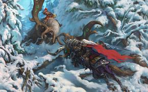 фотокартина, печать на холсте на заказ Украина ArtHolst Heroes of the Storm, Arthas, The Lich King, Valla, Demon Hunter, Артас, Король-лич, Валла, Охотница на демонов, сражение, битва, зима, снег