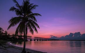 Bahia Honda State Park, Old Bahia Honda Railroad Bridge, Баия Хонда Парк, штат Флорида, закат, пейзаж