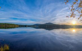 日落, 湖, 景观, 达拉纳, 瑞典