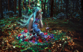 forest, Flowers, nymph, skull, SuzAnne Steben, mood