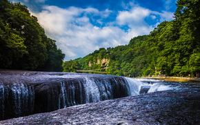 Fukiware Falls, Katashina River, Gunma, Japan, водопад Фукиваре, река Катасина, Гумма, Япония, водопад, река, лес