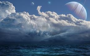 mar, cielo, planeta