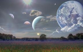 campo, cielo, Planeta