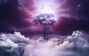 дерево, бабочки, лодка, девушка, 3d, art