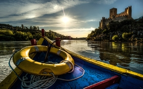 Castle of Almourol, Tagus River, Portugal, Almourol Castle, River Tagus, Portugal, castle, river, boat, lifebuoy