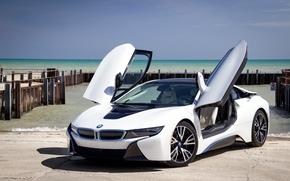 carro esporte, compartimento, Carro esportivo, atracar, BMW i8, mar