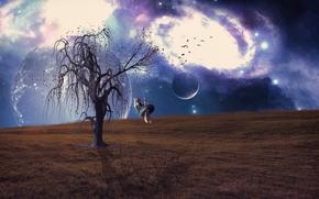 campo, chica, árbol, COLUMPIO, planeta, surrealismo, Fantasmagoría, 3d, arte