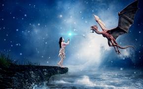 море, девушка, дракон, сюрреализм, фантасмагория, 3d, art