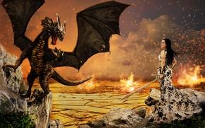 девушка, дракон, сюрреализм, фантасмагория, 3d, art