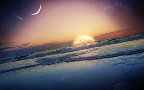puesta del sol, mar, ondas, planeta, arte