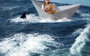 sea, paper boat, girl, Shark