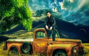 фотокартина, печать на холсте на заказ Украина ArtHolst поле, автомобиль, парень