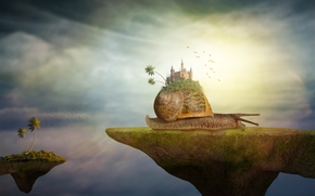 улитка, замок, сюрреализм, фантасмагория, 3d, art