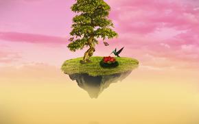 Baum, Vögel, Insel, Surrealismus, Phantasmagoria, 3d, art