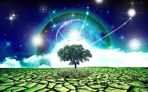 árbol, planeta, surrealismo, Fantasmagoría, 3d, arte