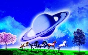 поле, лошади, деревья, планета, сюрреализм, фантасмагория, 3d, art