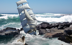 sea, storm, ship, Rocks