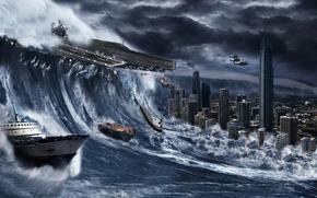 город, катастрофа, буря, море, шторм, волна, затоп
