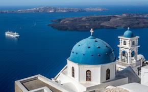 Imerovigli, Santorini, Greece, Aegean Sea, Church of Ai-Stratis, Imerovigli, Santorini, Greece, Aegean Sea, Church of Ai-Stratis, sea, Islands, Liner, church, dome, belfry