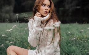 Tiziana Di Garbo, модель, свитер, луг