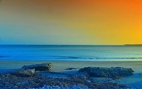 sunset, sea, shore, landscape