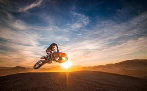 закат, мотоциклист, мотокросс