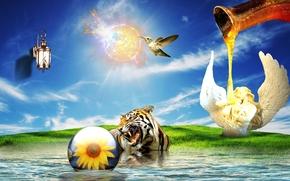surrealismo, Phantasmagoria, p?ssaro, 3d, tigre, arte