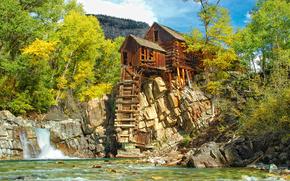 Kryształ Mill, Kolorado, jesień, drzew, krajobraz