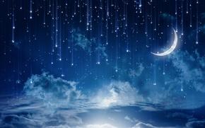 Nuvens, Estrela, noite, m?s, c?u, paisagem