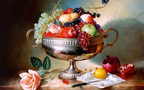 vase, fruit, still life