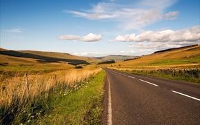 carretera, Hills, campo, paisaje
